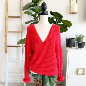 PINK Fuchsia Pink Chunky Knit V-Neck Sweater